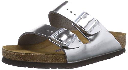 footprints birkenstock Birkenstock Classic Damen Arizona Leder Softfootbed Pantoletten, Silber (Metallic Silver), 38 EU