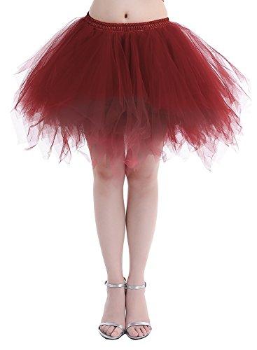 Dressystar DSP0005 Minirock Kurz Unterrock Tutu Unregelmäßig Tüll Damen Mädchen Ballettrock Multi-Schichten Weinrot (Tutu Mädchen Rot Tüll)