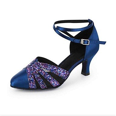 Scarpe da ballo-Personalizzabile-Da donna-Balli latino-americani / Moderno / Salsa-Tacco su misura-Finta pelle-Nero / Blu / Verde / Rosso Red