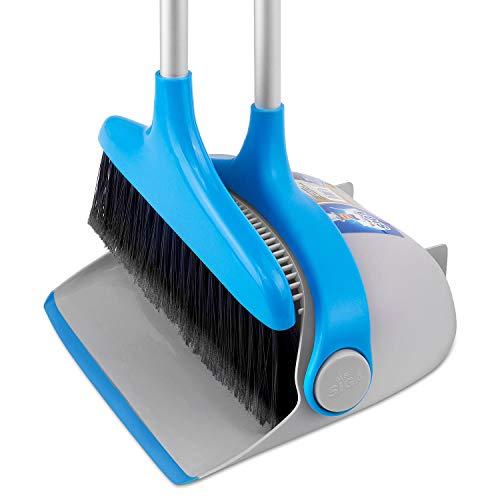 MR.SIGA Ensemble de balai vertical et de pelle à poussière, bleu et gris