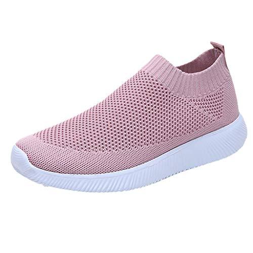 BHYDRY Donne Outdoor Mesh Tinta Unita Sport Scarpe Runing Traspirante Sneakers(38EU,Rosa)