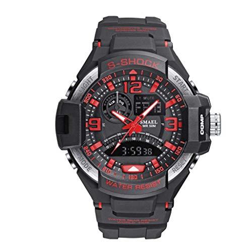 UINGKID Herren Uhr analog Quarz Armbanduhr wasserdicht Uhren Outdoor Sports e LED Kaltlicht Doppel Display Leuchtende Uhr