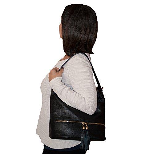 Lederhandtasche Umhängetasche echtleder schulter tasche Schulterbeutel SCHWARZ Handtasche damen Dazoriginal SCHWARZ SnBqYpTT