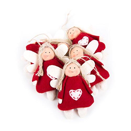 10 kleine rote FILZ Engel Engel-Anhänger 9,5 cm mit Herz - Schutzengel Hänger Weihnachts-Deko Mitgebsel Gastgeschenk give-away mini-Geschenk Weihnachten Kinder Geburtstag Geschenkanhänger