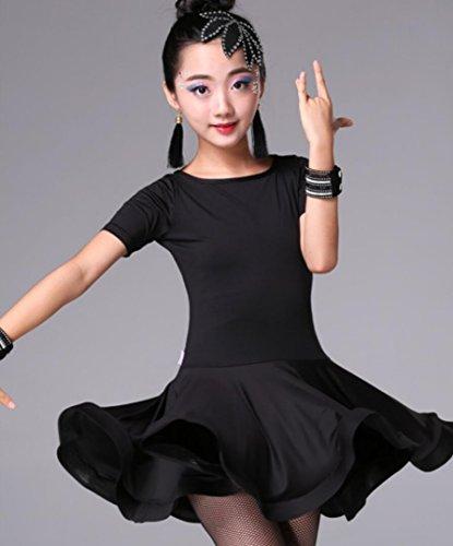 Kinder Latein Tanz Rock Kinder weibliche Übung Kleidung Prinzessin Kleidung Kinder Latin Dance Kleidung Wettbewerb Kostüm Rose Black, Black, (Black Dance Kostüm)