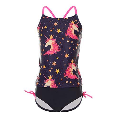DAYU Kinder Bikini Set Einhorn Badeanzug Mädchen Top+Shorts Sommer Tankini Strandwear UV Shutz Anzug,10-12