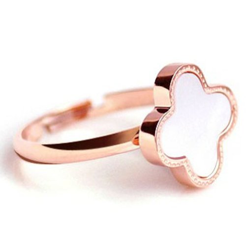 Women's Stainless Steel Vintage Rose Gold Plated Bunge Bedstraw Herb Pinky Ring for Girls