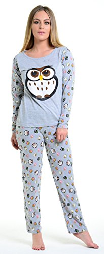 Womens Loungewear Set Snoopy Mickey Mouse Print Pyjama Top Cotton PJ Nachtwäsche (M - EU42/44, Grey - Owl Print Pyjama Set) (Baumwolle Set Pj)