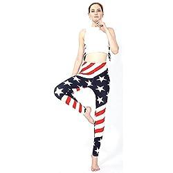 Morwind Womens Star Stripe Printed Tight Trousers Yoga Pants Leggings,walking Running Yoga Pants (Multicolor, Free)