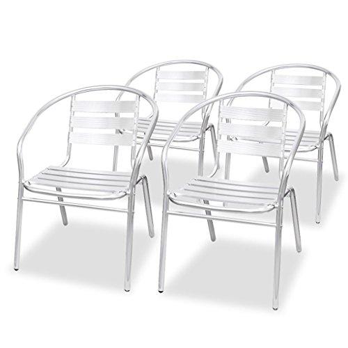 vidaXL 4x Stapelbare Stuhl Alu Stapelstuhl Essstuhl Balkonstuhl Gartenstuhl