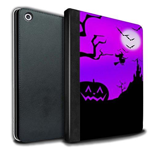 �lle/Case/Brieftasche für Apple iPad 9.7 (2017) Tablet/Kürbis/Hexe Muster/Halloween Szene Kollektion ()