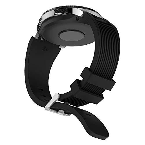 Vamoro Weiche Silikonarmband Watch Straps Silikon Uhrenarmband mit Schnellverschluss Ersatz Uhren-Armband für Samsung Galaxy Watch 46mm(Schwarz)