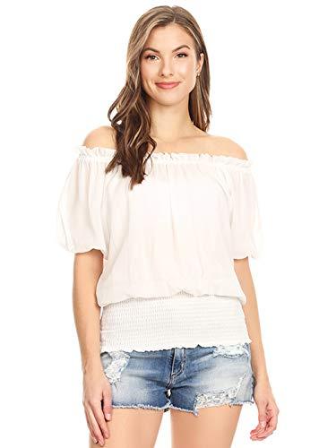 Anna-Kaci Rüschen Puffy Kurzarm Schulterfrei elastische Mittel Smocked Taille Peasant Boho Bluse Chiffon Shirt, M, Weiß -