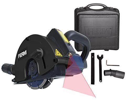 FERM Mauernutfräse Schlitzfräse 1700W - 2 Diamantscheiben 125mm - Laserfürhrung - Staubabsaugungsadapter - Koffer