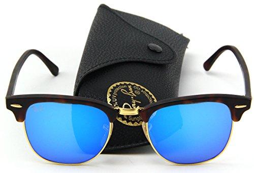 Ray-Ban RB3016 Clubmaster Flash Series Unisex Sunglasses (Sand Havana Frame / Blue Flash Lens 114517, 51)