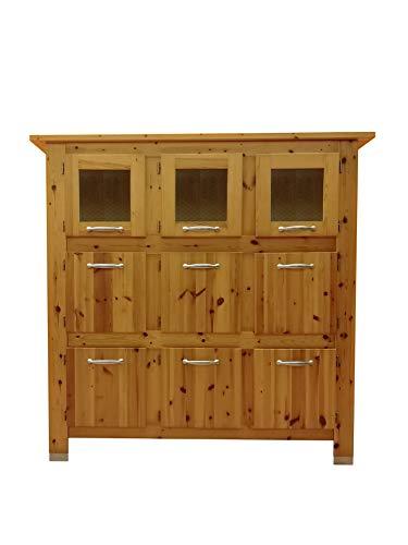 Silvam Sideboard Vitrine 9 Türen Glas Modern Küche Wohnzimmer Massivholz -