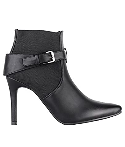 5479-BLK-8: Buckle Strap Heeled Ankle Booties