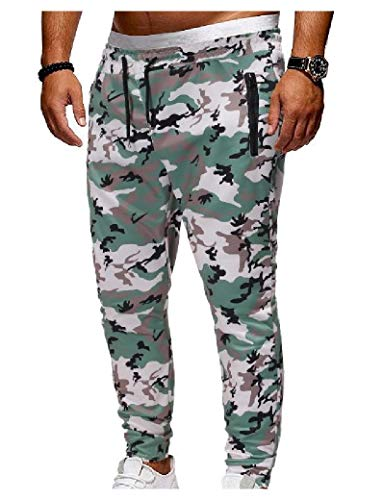 CuteRose Men Outdoor Classic-Fit Waist Tie Casual Camo Running Trousers Green XS