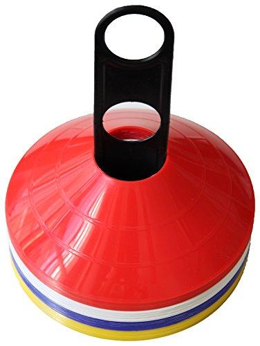 Con estos conos planos o setas puede marcar o delimitar un espacio, crear un circuito, señalizar direcciones etc... Los conos son de los siguientes colores: rojo, azul, amarillo y blanco. Se distinguen muy bien en el campo de entrenamiento o pabellón...