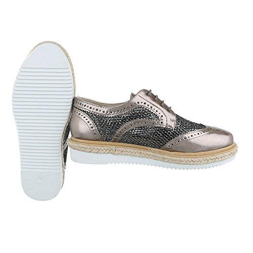 Ital-Design - Scarpe Basse Stringate Donna grigio argento