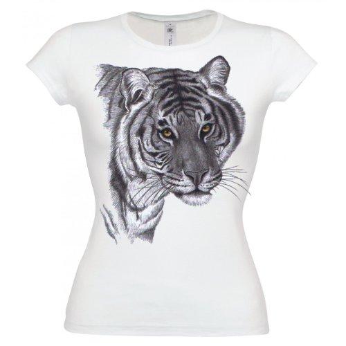 Ethno Designs T-Shirt Tiger slim fit Blanc