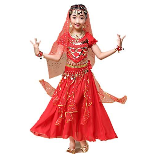 Indienne De Kostüm - Amphia - Bauchtanzkostüm für Kinder (2er-Set) - Kindermädchen Bauchtanz Outfit Kostüm Indien Tanzkleidung Top + Rock