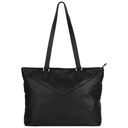 Kenneth Cole REACTION Laptop-Tasche für Damen, Leder, Reißverschluss, 38,1 cm (15 Zoll) Schwarz schwarz One Size (Cole Kenneth Notebook)