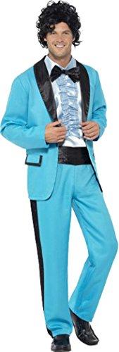 (Herren Fancy Kleid Disco Party Outfit Tuxedo Suit 1980 's Ball King Kostüm, Blau)