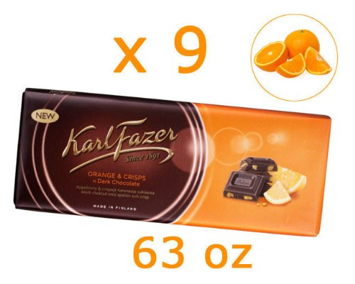 Dunkel Schokolade mit Orange Chipsletten von Finnland von Karl Fazer [Packung von 9] (Dunkle Schokolade Mit Orange)