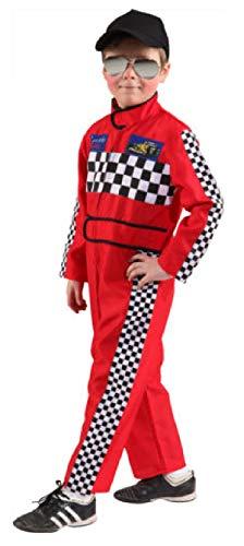 narrenkiste O5134-128-140-A Kinder Mädchen Junge Rennfahrer Kostüm-Overall Gr.128-140 Racer Girl Overall