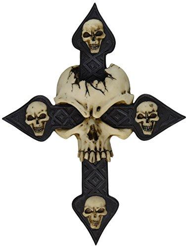 Design Toscano Faszinierendes Totenkopfkreuz, Wandfigur