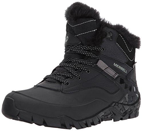 Merrell Aurora 6 Ice+ Waterproof Damen Trekking- & Wanderschuhe, Schwarz (BlackBlack), 38 (Damen-lug-sohle-boot)