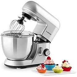 Klarstein Bella Pico Mini - Robot de cuisine , Machine à pétrir , 550-800W , 6 vitesses , 4 L , Bras multifonction , Bol inox , 3 accessoires , Argent