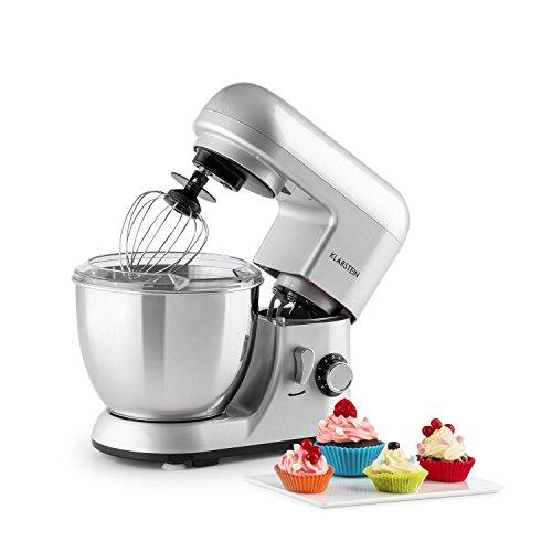 Klarstein Bella Pico Mini • Robot de cuisine • Mélangeur • Machine à pétrir • 800W • 6 vitesses • 4 litres • Bras multifonction • Système de planétaires • Déverrouillage rapide • Fonction pulse • Bol inox • 3 accessoires • Compact • Solide • Argent