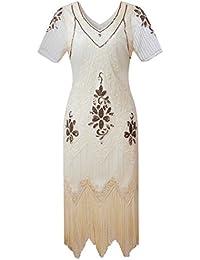 dad9e57149d Gatsby 1920s Flapper Dress Women Vintage Sequin Fringe Beaded Art Deco  Fancy Dress with Sleeve for