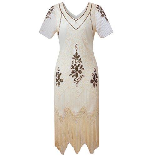 Damen Gatsby Kleid Vintage 1920er Flapper Kleider mit Pailletten Perlen für Frauen Cocktail Party