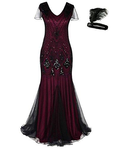 Damen Frauen 1920s 20er Cocktail Maxi Lange Gatsby Abend Kleid meerjungfrau formelle Gewand Dress (red/Black, L) (Billig Red Club Kleider)