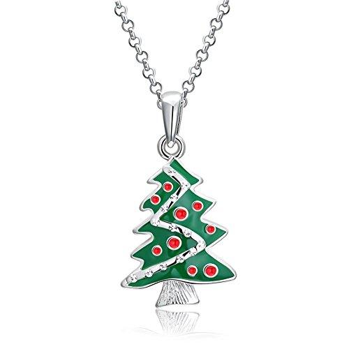 chmuck Versilbert Halskette Silber Damen Weihnachtsbaum Anhänger Kette Silber für Frauen (Halloween Papier Waren)