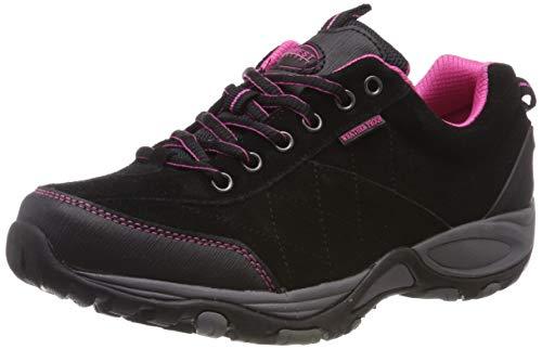 Scarpe da camminata da donna foderate, leggere e impermeabili, con suola in memory foam e chiusura con lacci, scarpe comode ideali per camminare modello 'Keller', (Black/pink), 40 EU