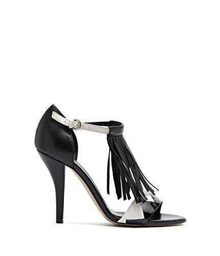 Poi lei pour femme avec talons hauts stilettoabsatz ria sandales à franges en cuir noir schwarz