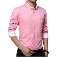 IndoPrimo Men's Latest Cotton Casual Shirt Full Sleeve Formal Shirt for Men (Pink, Medium - 40)