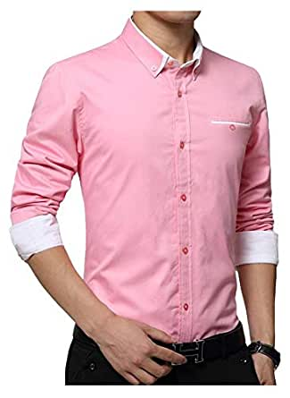 IndoPrimo Men's Latest Cotton Casual Shirt Full Sleeve Formal Shirt for Men (Pink, Small - 38)