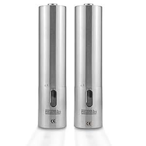 mumbi Duo moulins à poivre et sel électriques inox poivrier / salière design très réussi Design Aluminium Argent - Céramique