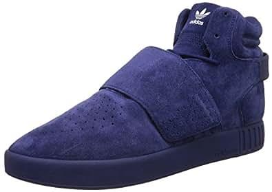 adidas Originals Men's Tubular Invader Strap Dkblue, Dkblue and Ftwwht Leather Sneakers - 9 UK/India (43.3 EU)