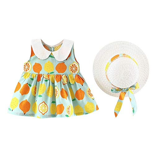 JUTOO Säuglingskleinkind-Baby-Mädchen-Frucht-Blumenkleid-Kappen-Strand-Sommerkleid-Kleidung (Grün...