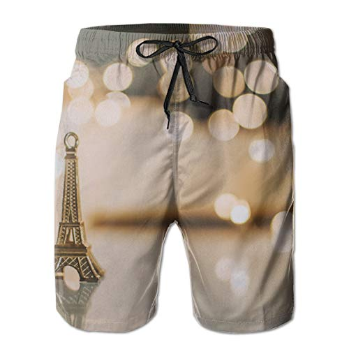jiger Mens Swim Trunks Summer Cool Quick Dry Board Shorts Bathing Suit,Mini Eiffel Tower Pendant,Beach Shorts Swim Trunks
