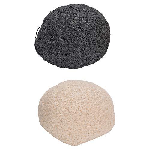 Konjac - Juego de esponja para lavado facial (redonda, color negro y blanco)