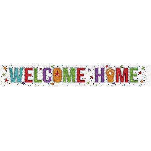 """Amscan 9900049Folien-Spruchband, 2,7m, Aufschrift """"Welcome Home"""" (Willkommen Zuhause), Holografisches - Tv Party-halloween"""