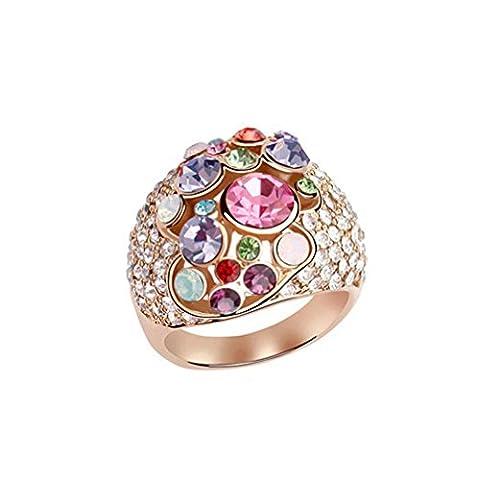 Damen Bunt Österreichischer Kristall Rund Ring Rose Vergoldet (Frauen Österreichischen Kristall-ring)