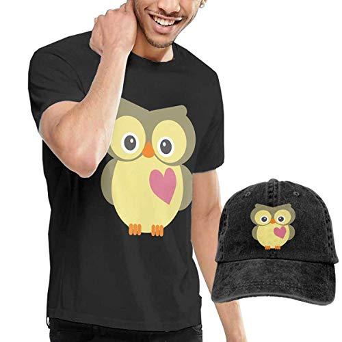Baostic Herren Kurzarmshirt Owl Cute Art Fashion Men's T-Shirt and Hats Youth & Adult T-Shirts -